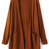 Khaki Long Sleeve Pockets Mohair Cardigan