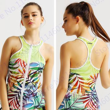 Colorful Coconut Palm Leaves Running Vests Sports Tank Tops Back Hollow Fitness Vest Sleeveless Tank Top Womens Athletic Singlet