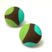 Button Earrings Green Turquoise Brown Abstract by PushTheButtons