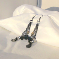 "Black Four Chain Dangle Earrings with Black Shell, Frosted Czech Beads, Periwinkle Glass Rounds and Teardrops, ""Isis"""