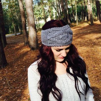 Headband, Gray Cable Knit Ear Warmer. Head Wrap, Winter Accessories Day-First™