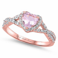 14K Pink Gold 1.7CT Heart Cut Pink Sapphire & Russian Lab Diamond Halo Ring