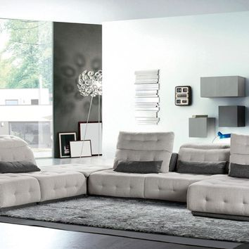 David Ferrari Daiquiri Italian Modern Light Grey & Dark Grey Fabric Modular Sectional Sofa