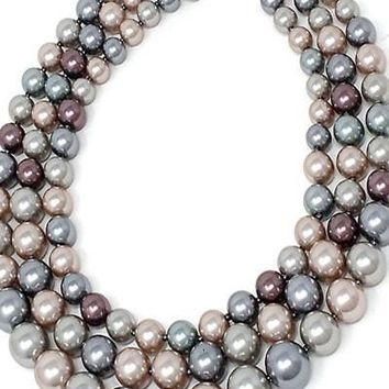 Pearl Necklace Set With Post Earrings