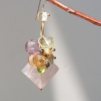 Rose Quartz, Lemon Quartz, Citrine, Peridot, Pink Topaz, and Keishi Pearl Earrings