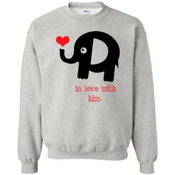 In love with him VALENTINES - Couple T Shirt G180 Gildan Crewneck Pullover Sweatshirt  8 oz.