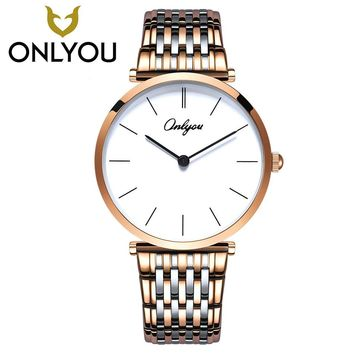 ONLYOU New Brand Simple Fashion Casual Stainless Steel Men Watch Women Dress Wristwatch Lovers Quartz Travel Watch Wholesale