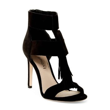 VIA SPIGA Women's Black Eilish Fringe T Strap High Heel Sandals