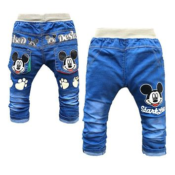 Clearance Sale Baby Denim Pants Fashon Elastic Waist Baby Boy Jeans Cartoon Infant Clothing Cute Baby Girl Top Trending Jeans