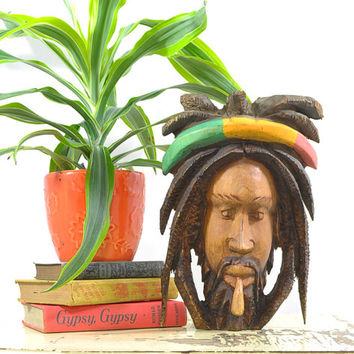 Wooden Rastaman Carving • Vintage Bob Marley Decor • Jamaican Man • Smoking Man • Hand carved Wooden Folk Art • Vintage Wall Decor