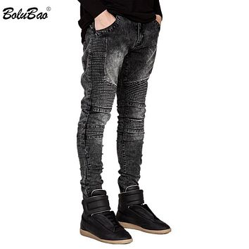 New Men Jeans Runway Slim Racer Biker Jeans Fashion Hip hop Skinny Jeans For Men Denim Joggers Pants