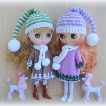 blythe hat. Knitted hat for Blythe doll, gnome hat, blythe clothes, blythe outfit, blythe cap, pixie hat, beanie, handmade
