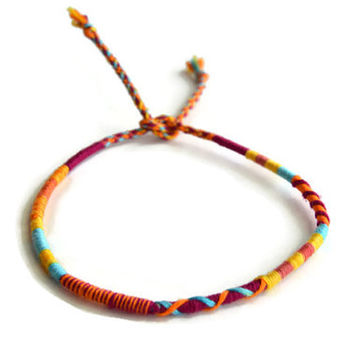 Orange Tie Dye Friendship Bracelet and Anklet, Orange and Blue Wanderlust Friendship Anklets