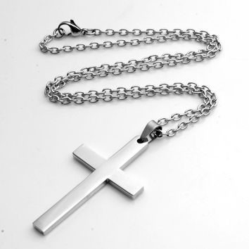 Fashion Simple Cross Pendant Silver Stainless Steel Multi Sizes Religeous Jesus Cross Pendant Necklace Jewelry For Men Women