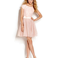 Trixxi Juniors' Lace Glittered Tulle Dress