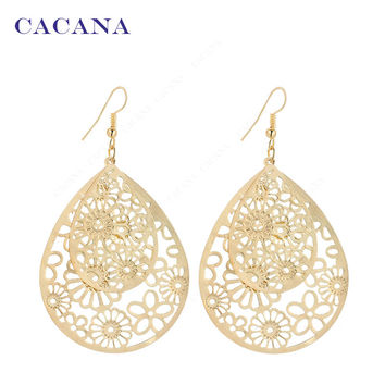 2016 new CACANA gold plated dangle long earrings for women big hollow patten water drop bijouterie hot sale No.A205 A206