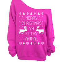 Merry Christmas Ya Filthy Animal - Ugly Christmas Sweater - Pink Slouchy Oversized Sweater