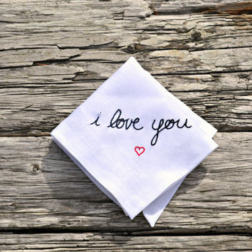 I Love You Handkerchief, Heart Hankerchief, Love Pocket Square Handwriting Hankerchief Wedding Gift Handkerchief Valentines Hankie Gift Idea