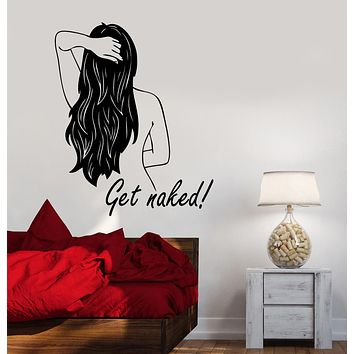 Vinyl Wall Decal Get Naked Back Girl Quote For Bathroom Stickers (3286ig)