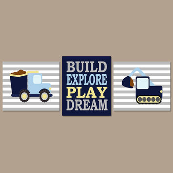 CONSTRUCTION Nursery Art Boy Nursery Decor Boy Nursery Art Dump Truck Big Boy Bedroom Playroom Decor Set of 3 Prints Or Canvas
