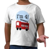 I'm Four Red Fire Truck T-shirt from Zazzle.com