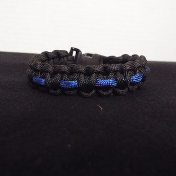 Paracord Bracelet, Handmade Black and Blue Survival Bracelet in Cobra Stitch, Thin Blue Line, Police / Cop / Officer / MP