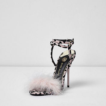 Pink animal print feather stiletto sandals - sandals - shoes / boots - women
