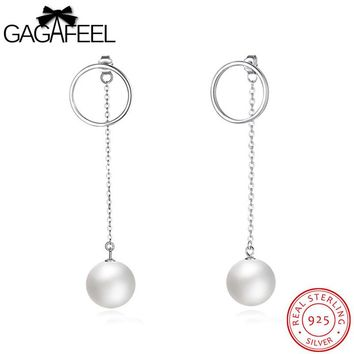 GAGAFEEL Pending Drop Earrings Sterling Silver Ear Line Chain Jewelry With Imitation Pearl Round Circle Female Hanging Accessory