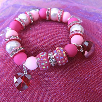 Charm Bracelet, Stretch Bracelet, Pearl Bracelet, Pink Heart Bracelet, Gift for Her, Gift Box, Ready to Ship, Free Gift Wrapping