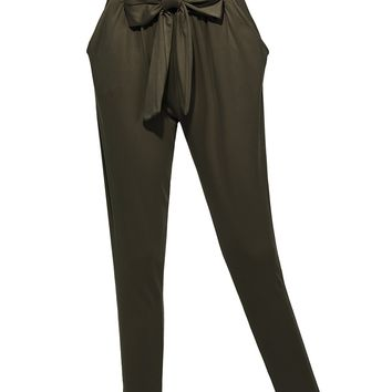 LE3NO Womens Slim Straight Leg Stretch Harem Jogger Pants with Belt