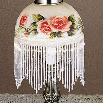 "Meyda 13.5""""H Home Indoor Decorative Lighting Rosebush Fringed Mini Lamp"