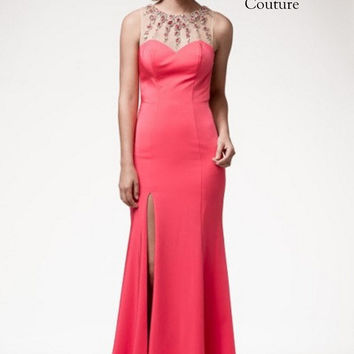 Kari Chang KC52 Sheer High Neck Backless Prom Dress