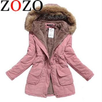 Windbreaker Jacket Women's Fall Winter Coat Women's Outerwear Plus Size Casual Long Down Cotton Cotton Lady Fashion Warm Woman