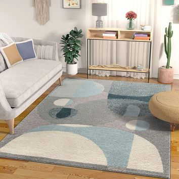 7029 Gray Blue Abstract Contemporary Area Rugs