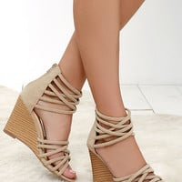 Pure Instinct Nude Suede Caged Wedges