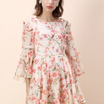 Full of Peach Blossoms Chiffon Pleated Dress - Retro, Indie and Unique Fashion