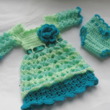 Crochet Baby dress newborn diaper cover turquoise green mint color infant take home hospital first outfit