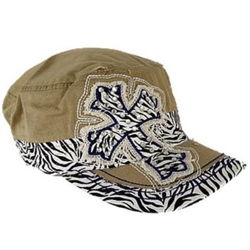 Embroidered Rhinestone Zebra Cross Cap Hat (Khaki)