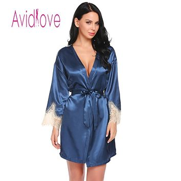 Sleeve Casual V-Neck Long Women Lace Satin Patchwork Sexy Nightgown with Belt