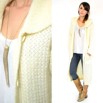 vintage 1970s cream LIGHTWEIGHT preppy bohemian retro CARDIGAN sweater DUSTER, extra small-medium