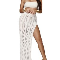 New White Drawstring Cut Out Irregular Knitwear Thigh High Side Slits Casual Fashion Beach Long Skirt