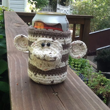 "Monkey cup cozy, pencil holder, soda can koozie, desk organizer, 4"" high, 3"" opening, 3"" base"