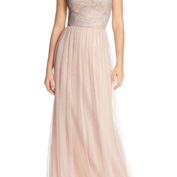 Hayley Paige Occasions Strapless Metallic Lace & Net Gown | Nordstrom