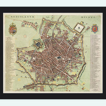 Old Map of Milan Milano, Italia 1700 Antique Vintage Map Italy engraving