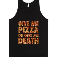 Give Me Pizza Or Give Me Death (tank)-Unisex Black Tank
