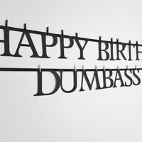 Birthday banner, dumbass, custom banner, novelty banner, funny sign, vegas decor, 21st birthday, man birthday, frat party, birthday decor