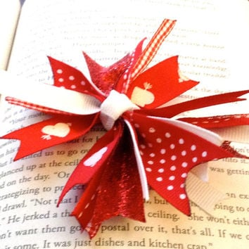 Red  Heart Spike Hair Bow
