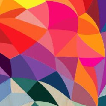 Abstract Colorful Artwork Checkered Triangles - Plywood Wood Print Poster Wall Art
