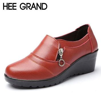 HEE GRAND Women Ankle Boots 2017 New Autumn Soft PU Leather Platform Shoes Woman Zip L