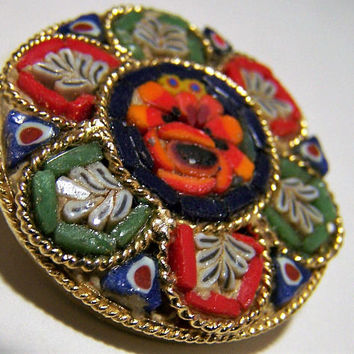 Murano Italy Micro Mosaic Floral Pin, Italian Multi Color Glass Brooch, Venetian Mid Century Jewelry 717